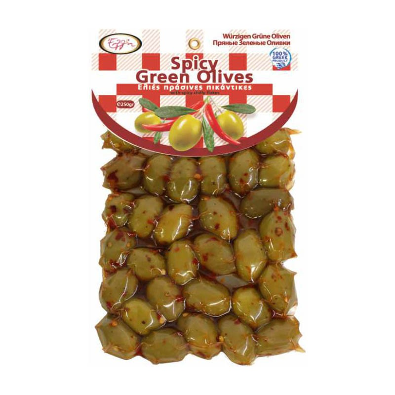 Spicy Green Olives 250gr